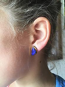 Náušnice - modré polmesiačiky/keramika/ - 10163492_