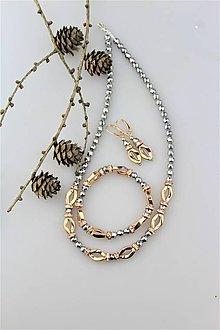 Sady šperkov - hematit náhrdelník, náušnice, náramok súprava luxusná - 10162494_