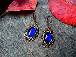 Náušnice - Baroko náušnice s kráľovsky modrými kameňmi - 10164089_