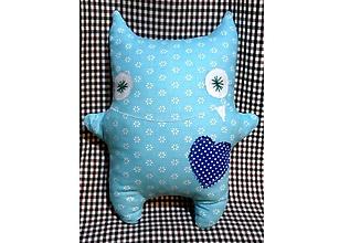 Úžitkový textil - Hračka mojkáčik vankúšik STRAŠIDLO strašidielko MONSTER (výška 33 x šírka 28 cm - Modrá) - 10160767_