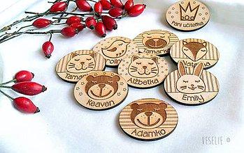 Magnetky - Detské magnetky/odznaky s menami - zvieratká - 10163279_