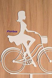 Dekorácie - Cyklistka - biely zápich - 10161180_