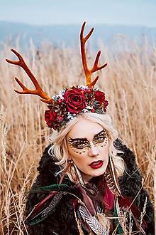 Ozdoby do vlasov - Veľká vianočná čelenka s parožkami - 10162058_