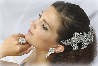 Náušnice - Svatební s křišťály - 10162331_