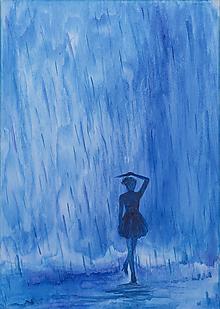 Obrazy - Kroky v daždi..., obraz na plátne - 10163327_