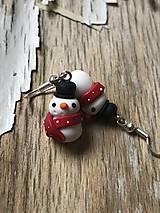 Náušnice - snehuliaci s klobúčikom - 10161326_