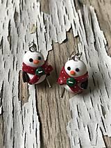 Náušnice - snehuliaci s bodko šálmi s gombičkou - 10161336_