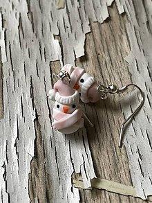 Náušnice - snehuliačik v romantickej ružovej - 10161360_
