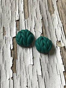 Náušnice - PRE TEBA..štrikované napichovačky (smaragdovo zelená) - 10161370_