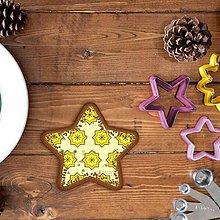 Dekorácie - Vianočné grafické perníky so vzorom - hviezdičky - 10161963_