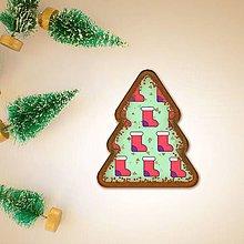 Dekorácie - Vianočné grafické perníky so vzorom - ponožky (vianočný stromček) - 10161983_