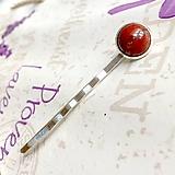 Ozdoby do vlasov - Red Jasper Silver Hairpin / Sponka do vlasov s červeným jaspisom /1223 - 10165727_