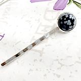 Ozdoby do vlasov - Snowflake Obsidian Silver Hairpin / Sponka do vlasov s vločkovým obsidiánom /1228 - 10165831_