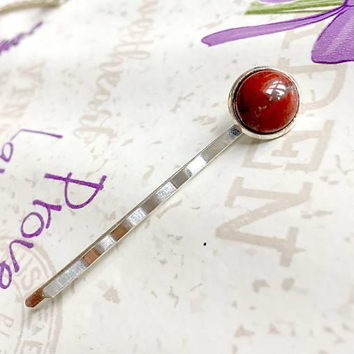 Red Jasper Silver Hairpin / Sponka do vlasov s červeným jaspisom /1223