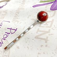 Ozdoby do vlasov - Red Jasper Silver Hairpin / Sponka do vlasov s červeným jaspisom /1223 - 10165736_