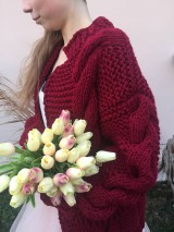 Romantic cardigan-winered