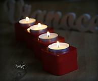 Svietidlá a sviečky - Sada svietnikov, nielen na advent červené - 10165747_
