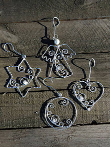 Dekorácie - Vianoce strieborné...folk ornament - 10167602_