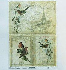Papier - Ryžový papier na decoupage -A4-R184- Vianoce, Paríž, veža - 10164303_