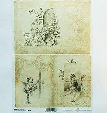 Papier - Ryžový papier na decoupage -A4-R190-Vianoce, deti, retro - 10164304_