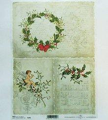 Papier - Ryžový papier na decoupage -A4-R192-Vianoce, imelo, anjel - 10164309_