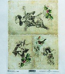 Papier - Ryžový papier na decoupage -A4-R193-Vianoce, retro, imelo - 10164313_