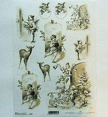 Papier - Ryžový papier na decoupage -A4-R197 - Vianoce, vintage - 10165018_