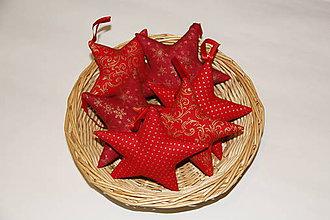 Dekorácie - Vianočné hviezdičky červeno zlaté - 10167607_