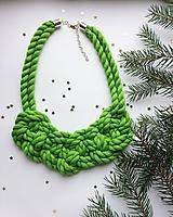 Náhrdelníky - Zelený bavlnený - 10167154_