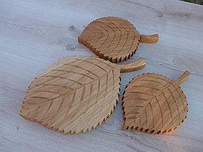 Pomôcky - Sada drevených podložiek v tvare listu - 10168002_