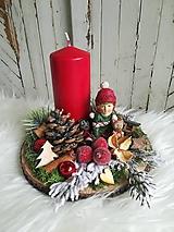 Dekorácie - Vianočná vintage dekorácia červeno-zelená - 10165443_