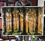 Svetlo v lese akvarelová maľba