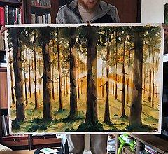 Obrazy - Svetlo v lese akvarelová maľba - 10166487_