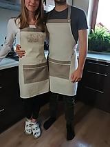 Iné oblečenie - Darčeková sada ľanových kuchynských záster pánska + dámska - 10166919_