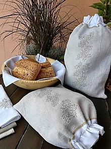 Úžitkový textil - Sada dvoch ľanových vreciek z ručne tkaného plátna - 10166819_
