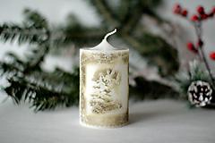 Svietidlá a sviečky - Vintage sviečka - Anjel v lese - 10168348_