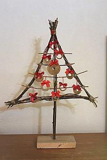Dekorácie - vianočný stromček natur červený - 10167050_