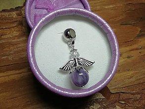Iné šperky - Anjelik strážny pre šťastie - levanduľový jadeit - 10167500_