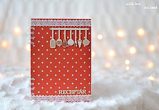 Papiernictvo - Receptárik - červený s hviezdičkami - 10168235_
