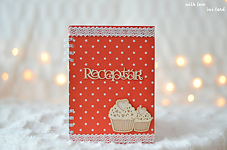 Papiernictvo - Receptárik - červený s hviezdičkami - 10168259_