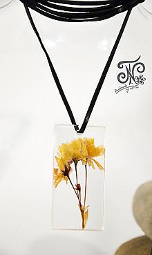 Náhrdelníky - Kúsok prírody - sušený kvet (Súkvetie ružovo-žlté) - 10165698_