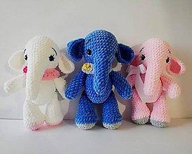 Hračky - háčkovaný modrý sloník - 10164881_