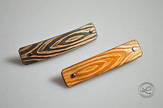 Ozdoby do vlasov - Kožená spona do vlasov - imitácia dreva. - 10165935_