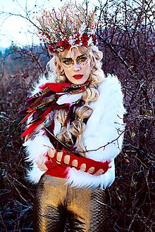 Ozdoby do vlasov - Romantická červená vianočná koruna - 10164255_