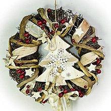 Dekorácie - Vánoční věnec - Dřevěný stromek - 10167531_