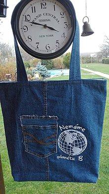 Nákupné tašky - Nákupná taška  z recyklovanej rifľoviny s výšivkou nemáme planétu B - 10168279_
