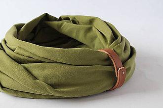 Doplnky - Bavlnený nákrčník s koženým remienkom - Giusepppe - 10166280_