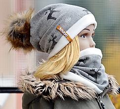 Detské súpravy - Zimný set Obojstranný s Odopínacím brmbolcom Reindeer gray & horčica - 10165309_