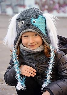 Detské súpravy - Zimný set psík tmavosivý / tyrkis - 10168400_