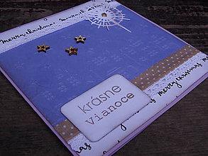 Papiernictvo - ...pohľadnica vianočná domčeková fialová... - 10168061_